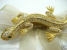 18k Gold Plate Lizard Swarovski Element Austrian Crystal Rhinestone Brooch Pin