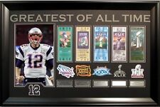 Tom Brady Patriots 11x14 photo 5 ticket & patch collage framed Super Bowl 51