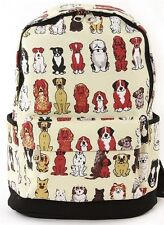 ALL ABOUT DOGS PRINTED CANVAS BACKPACK NWT Collie, Spaniel, So Cute!!