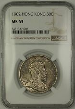 1902 Hong Kong 50c Fifty Cents Silver Coin NGC MS-63 Toned Choice Uncirculated