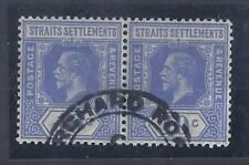 MALAYSIA, STRAITS SETTLEMENT, KGV,  10c SG 230w FINE USED PAIR, W/MARK INVERTED