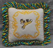 Embroidered Sock Horse Pony Pillow made w Ralph Lauren White Fabric trim Ruffle