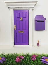 Purple Wooden Fairy Door with Fairy Mail Post Box Magic Key and Fairy Dust
