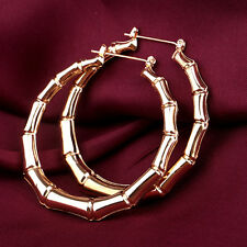Gold Tone Punk Old School Fashion Bamboo Big Hoop Hiphop Large Circle Earrings