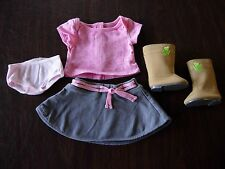 New ~American Girl True Spirit Outfit~ Boots, Gray Skirt, Panties, Pink Top