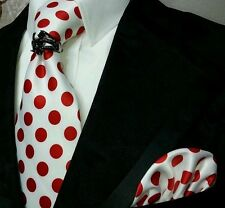 White with RED polka dot necktie tie + pocket square set NEW neck tie