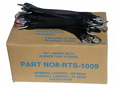 """100 9"""" HD Rubber Tarp Straps Tie Down f Flatbed Truck Trailer Bungee Tire Chains"""