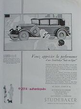 PUBLICITE AUTOMOBILE STUDEBAKER PRESIDENT COMMANDER DIRECTOR DE 1929 FRENCH AD