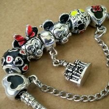 Disney Minnie Mickey Portrait Mania Hearts + Mouse Safety Chain European Charms