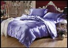 LIGHT PURPLE SOLID 1000TC SATIN SILK FITTED/SHEET/DUVET SET CHOOSE SIZE & ITEMS