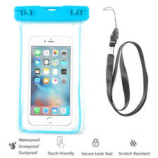 Blue Waterproof Case Cell Phone Dry Bag+Lanyard f/ iPhone 7 & all Smart Phones