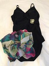 $300 NEW! **CHRISTINA** Black One-Piece Bathing/Swim SUIT & WRAP LOT! sz 12 BRA