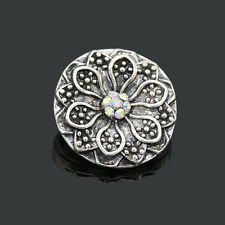3D Rhinestone Drill Snaps Chunk Charm Button Fit For Noosa Leather Bracelets
