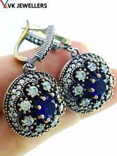 TURKISH OTTOMAN HANDMADE JEWELRY 925 STERLING SILVER SAPPHIRE EARRINGS E1971