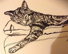 Cat Original Black Indian Ink Drawing
