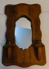VINTAGE DECORATIVE WOOD WALL MIRROR WITH ATTACHED CANDLE HOLDERS