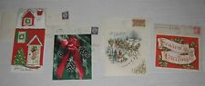 8 lot Vintage Christmas Greeting Cards 1955 with stamped envelope
