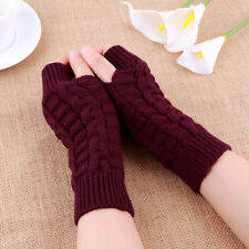 Ladies Winter Braided Knitted Crochet Arm Warmer Mittens Long Fingerless Gloves