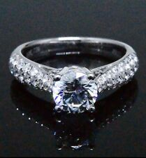 1.68 Ct. Fine Round Cut Prong Micro Pave Diamond Engagement Ring EGL E,SI1 14K