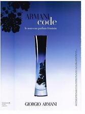 PUBLICITE ADVERTISING  2007 ARMANI CODE le nouveau parfum (recto verso)   200213