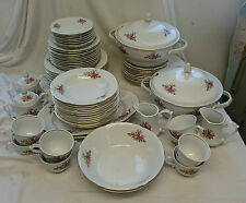 Vintage WLOCLAWEK POTTERY Floral BONE CHINA 49 Piece Large DINNER SET
