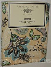"60"" x 120"" RAYMOND WAITES CLOTH TABLECLOTH Rectangle Paisley Flower tan beige"