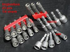 23 PC ALL MAGNETIC NUT DRIVER SETTERS BITS FOR DRILLS MM & SAE HEX SHANK
