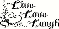 Live Love Laugh, Floral Heart Vinyl Wall Art Decal Sticker, letter, quote