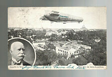 1913 Austria Zeppelin Real Picture Postcard Cover to England Sachsen in Flight