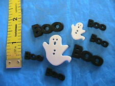 LOT OF 8 HALLOWEEN GHOSTS & BOO #2 FLATBACK~2-hole BUTTONS sew~scrapbook~crafts