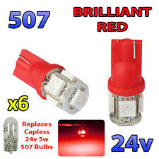 6 x RED 24v Capless Marker Light 505 501 W3W 5 SMD T10 Wedge Bulbs HGV Truck
