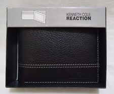 Men's Kenneth Cole Reaction Wallet Black Bifold Leather Textured White Stitching
