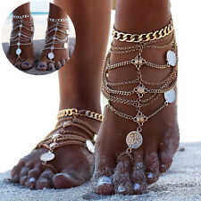 1Pc Popular Boho Beach Barefoot Sandal Carved Coin Multilayer Tassel Ankle Chain