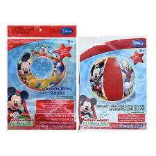 Disney Mickey Mouse Swim Ring Tube + Pool Beach Ball NEW