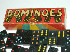 lot DOMINOS 22 x 45 x 8 mm HAL-SAN vintage USA dominoes JEUX game JEU BLACK wood