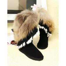 Women's Mid Calf Leather Snow Boots Real Rabbit Fox Fur WInter Fur Lining Boots@