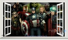 60X100cm Marvel Characters Avengers 3D Window Wall Decals Stickers Boys Decor