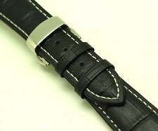 23mm Black/White Crocodile Grain Leather Watch Strap Polishing Butterfly Clasp