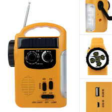 Portable FM/AM Radio Receiver Solar+Crank Power+Emergency Charger LED Flashlight