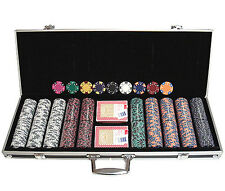 500 14 gr Clay Tri-Color Poker Chips Custom Set w/Case*