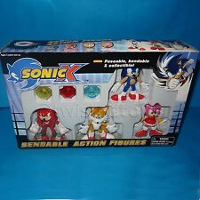 FEVA SEGA SONIC THE HEDGEHOG SONIC X BENDABLE ACTION FIGURES SET MIB BOXED RARE