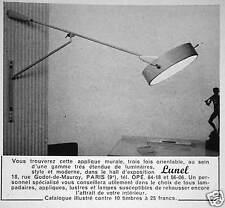 PUBLICITÉ 1958 LUNEL APPLIQUE MURALE 3 FOIS ORIENTABLE - ADVERTISING