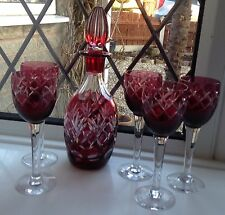 FINE BOHEMIAN RUBY CUT TO CLEAR DECANTER & 6 GLASSES