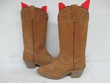 Tan Suede Leather Cowboy Western Boots Size 7.5 M Style 22620 USA