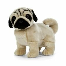 LIVING NATURE 23cm STANDING PUPPY PUG DOG SOFT TOY WITH TAG AN411 - NEW