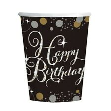 Pack of 8 Black, Gold and Silver Celebration Happy Birthday Party Cups - 9900550