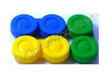 3x Contact Lens Soaking Storage Case Green/Yellow/Blue