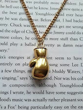 "GOLD BOXING GLOVE NECKLACE CHAIN PENDANT ROCKY FIGHTER SPORTS MENS 18"" NEW"