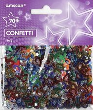3 PACK 70TH BIRTHDAY CONFETTI / TABLE SPRINKLES MULTI COLOURS TABLE DECORATIONS