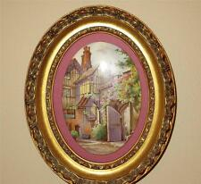 Rare Antique F. Micklewright English Cottage Garden Porcelain Painting Plaque